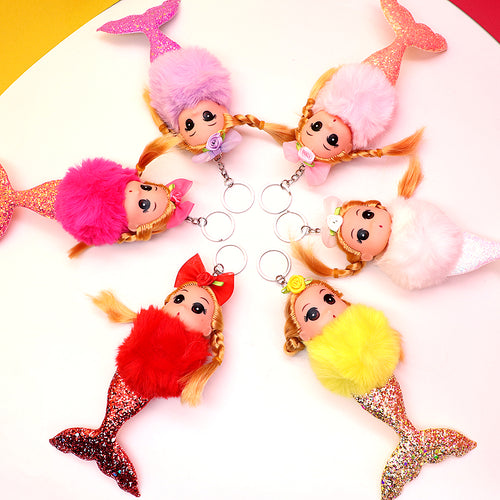 Big size Mermaid Doll Fluffy Key chain