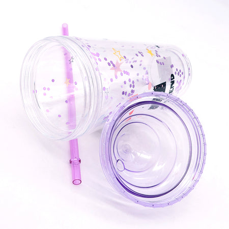 ICE CREAM SHAPED GLITTER CUP WITH STRAW 450ML (BT-20159)