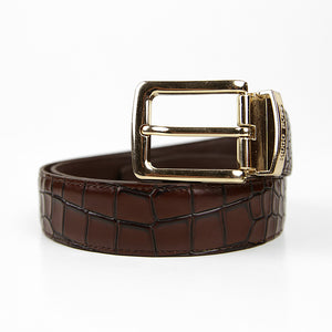 Men Pure Genuine Leather Belt with Golden Buckle (BR-11335)