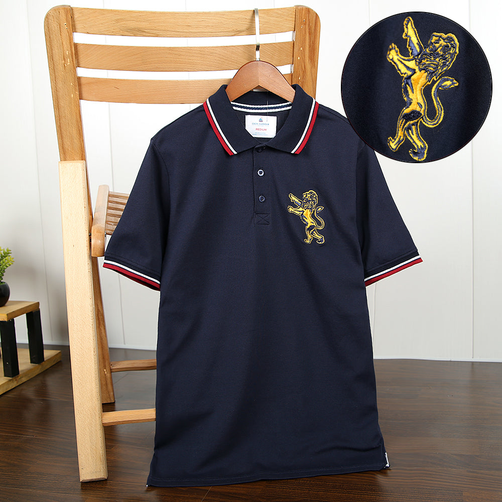 Men's Navy Slim Fit Premium Quality Embellished Embroidered Pique Polo Shirt (CH-12044)