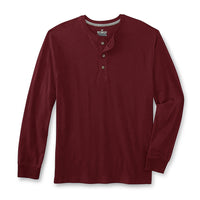 Blood Red Long Sleeve Heavy Jersey Henley Shirt  (OU-1298)