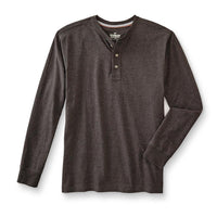 Dk Brown Long Sleeve Heavy Jersey Henley Shirt (OU-1297)