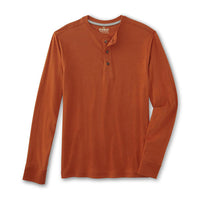 Rust Long Sleeve Heavy Jersey Henley Shirt  (OU-1300)