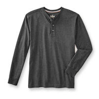 Dull Grey Long Sleeve Heavy Jersey Henley Shirt  (OU-1307)