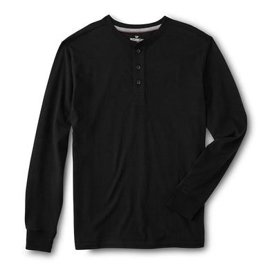Black Long Sleeve Heavy Jersey Henley Shirt  (OU-1305)