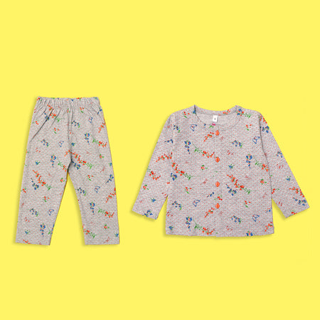 Kids all over Floral & Butterfly Pattern Printed Jersey Pajama Sets  (LB-4316)