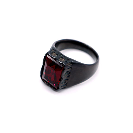 TITANIUM BACK RING WITH RUBY STONE TOP  (RI-2489)