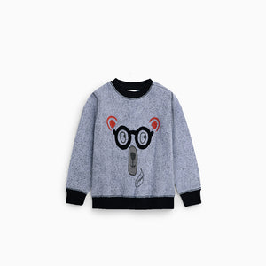 ZR Ringer Graphic Sweatshirt with Pom Pom Applique (ZA-1326)