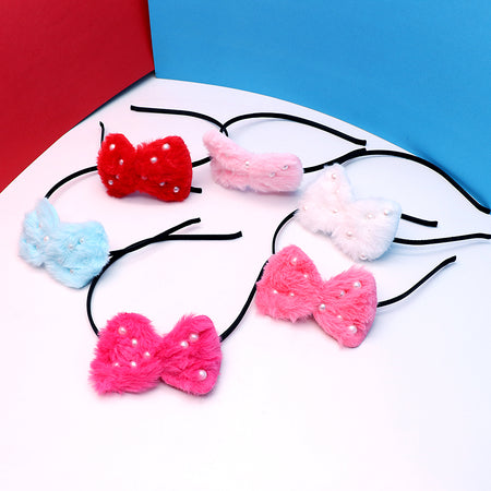 Pearl & Pom Pom Bow Hair band for girls
