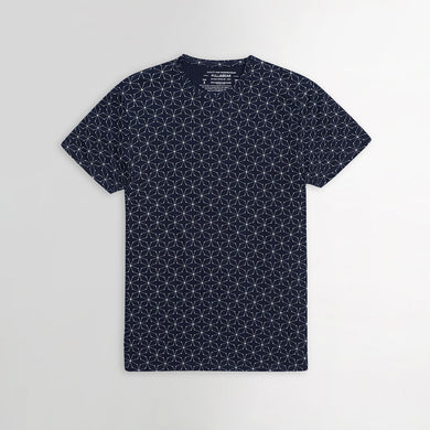 Navy Geometric Allover printed T-Shirt (PB-253)