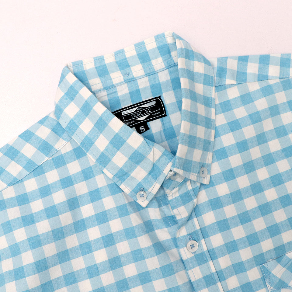 Men Nxt Pure Cotton Long Sleeve Sky Checked Casual Shirt (NE-4304)