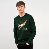 Heavy Fleece Crew Neck NASA Graphic Print Sweatshirt (BE-10350)