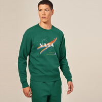 HEAVY FLEECE CREW NECK NASA GRAPHIC PRINT SWEATSHIRT (BR-10334)