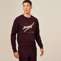 HEAVY FLEECE CREW NECK NASA GRAPHIC PRINT SWEATSHIRT (BR-10337)