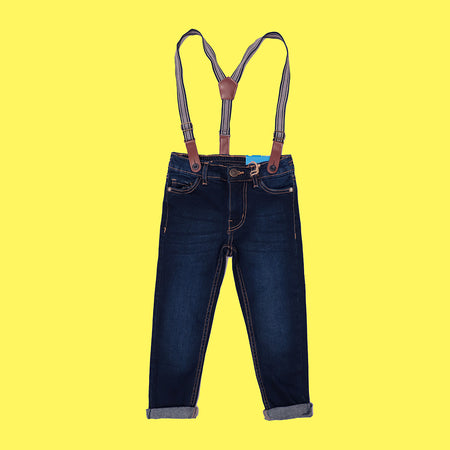 Kids Premium Quality Stretchy Jeans With Braces  (KK-5507)