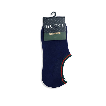 Striped Edge Navy Ankle Socks (GU-1500)