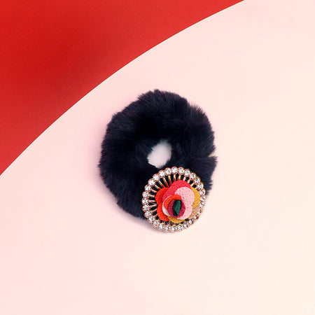 Fluffy Hair bobbles with Patel Badge Decoration