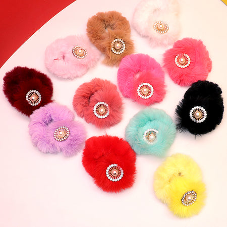 Fluffy Hair bobbles with Pearl Badge Decoration