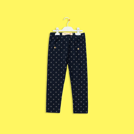 KIDS NAVY ALLOVER HEART PRINTED COTTON STRETCH LEGGINGS (BC-5173)