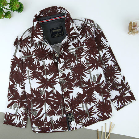 Kids allover Textured Print Casual Shirt