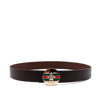 Genuine Leather Brown belt with Iconic Bee logo buckle  (GU-1360)