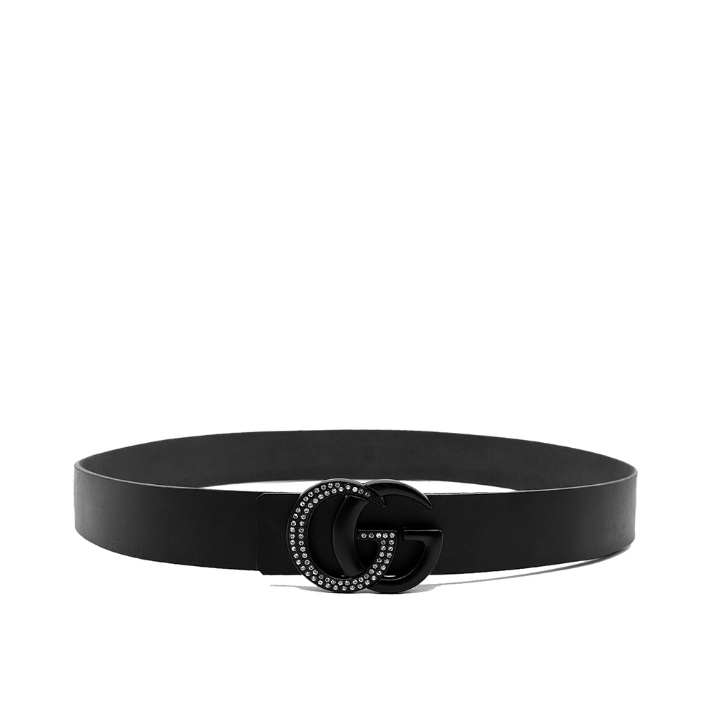 GENUINE BUFFALO LEATHER BLACK SIGNATURE HARDWARE BELT (GU-1361)