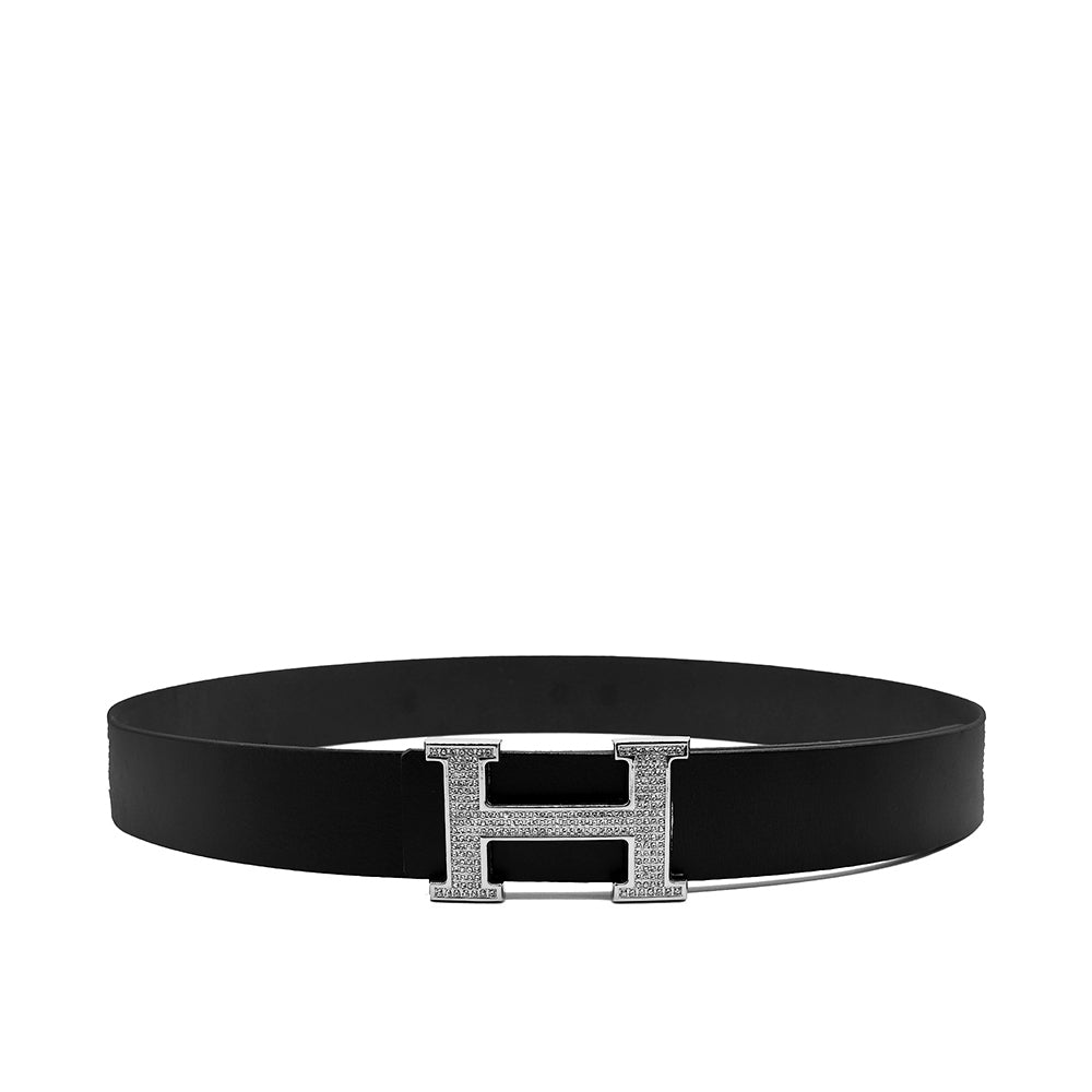 GENUINE BUFFALO LEATHER BLACK SIGNATURE HARDWARE BELT  (HA-1350)