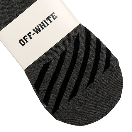Charcoal Textured Striped No Show Socks (OF-1409)