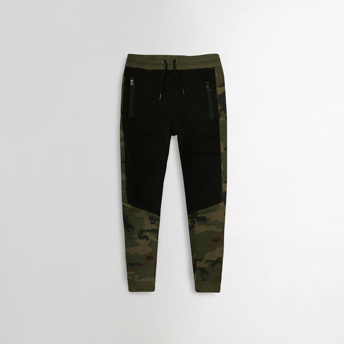 Older Boys Camo Paneled Zip Pocket Close Bottom Joggers  (PR-10317)