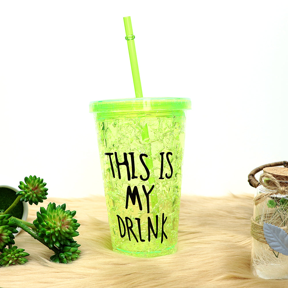 450ML CREATIVE SUMMER DOUBLE PLASTIC DURABLE WATER CUP WITH COVER STRAW