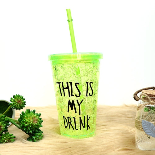 450ML CREATIVE SUMMER DOUBLE PLASTIC DURABLE WATER CUP WITH COVER STRAW (Frosters)
