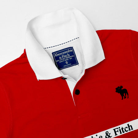 A&F Color Block Paneled Embellished Red Polo Shirt (AB-4319)