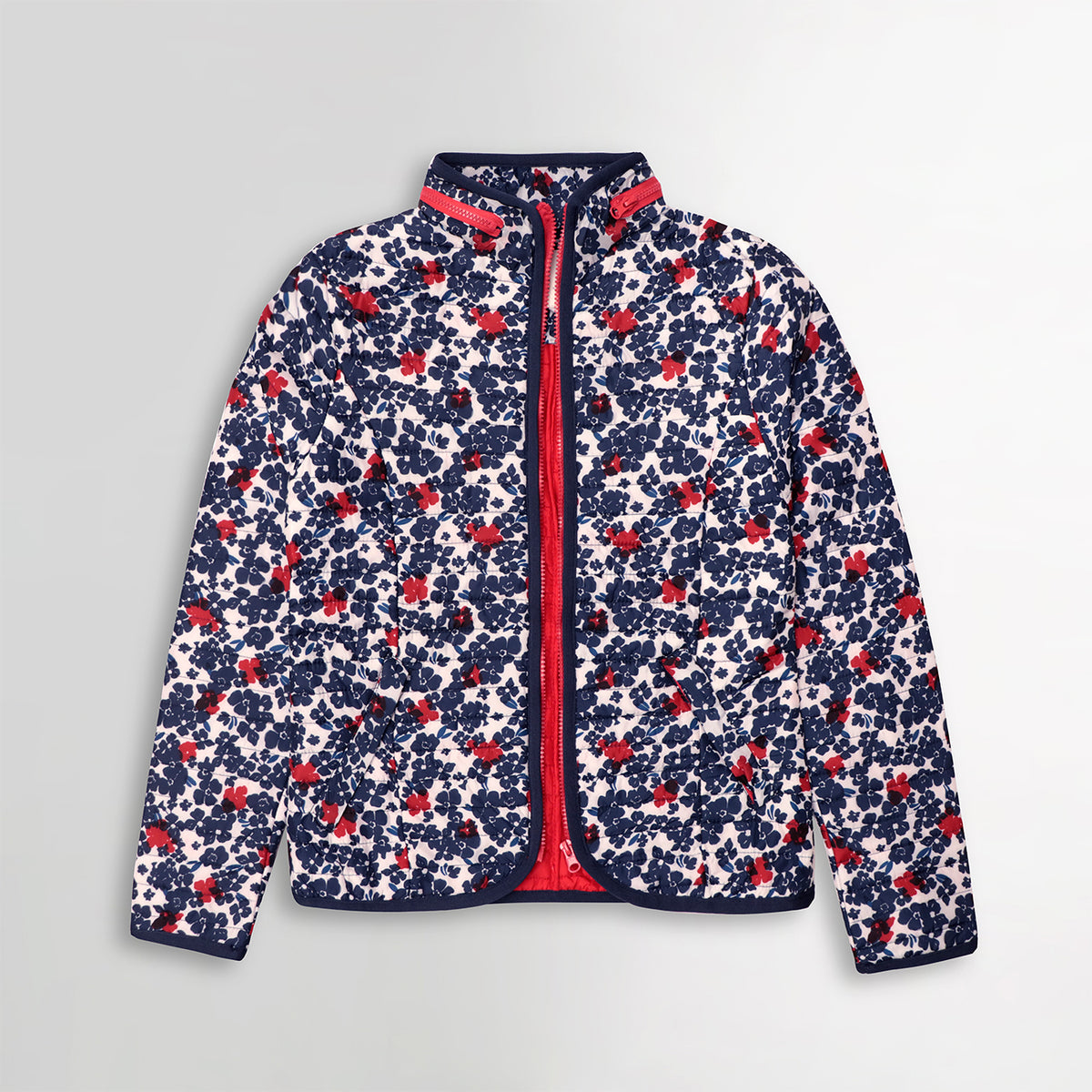 WOMEN LIGHT WEIGHT ALL OVER FLORAL PRINT PUFFER JACKET (BK-10370)