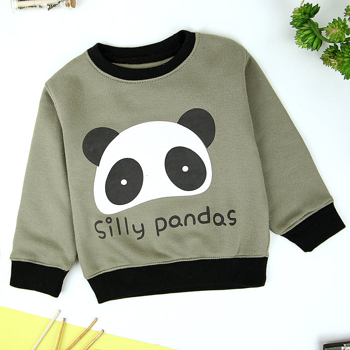 Kids Silly Panda Graphic  Fleece Sweatshirt (OU-11228)