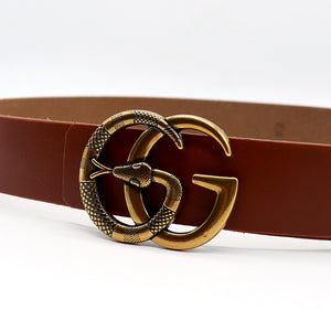 Genuine Buffalo Leather Tan Signature Hardware Belt  (GU-1368)