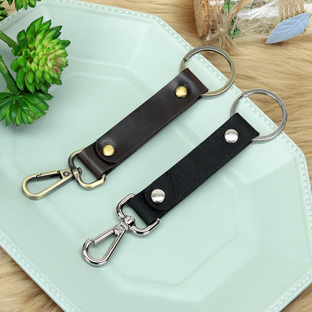 Classic Style Leather Fob Keychain with Belt Loop Hanging Clip