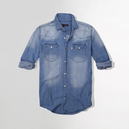 Men denim Washed Double pocket Casual Shirt