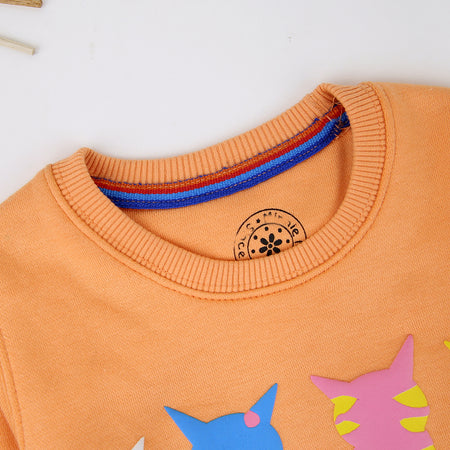 Girls Super Soft Orange Heavy Fleece Cats Printed Sweatshirt (MM-11452)