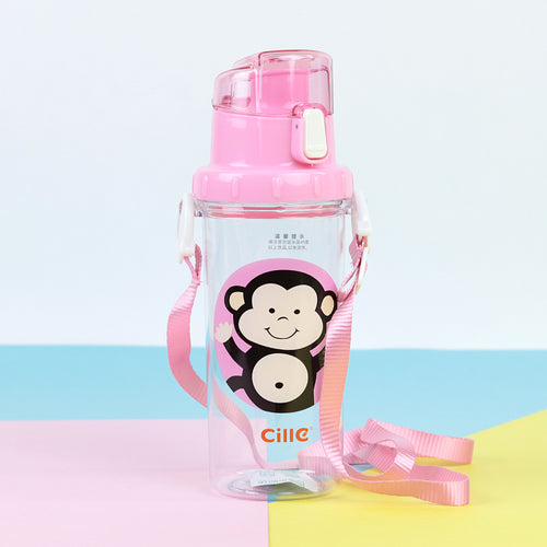 kids BPA free water bottle with shoulder strap and straw