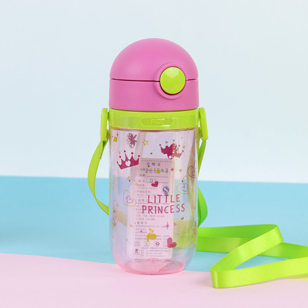Kids Water Bottle with push open button & Straw  (BT-20453)