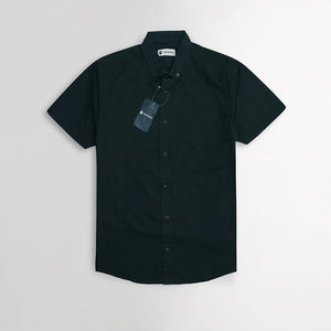 Black Pure Cotton Short Sleeve Casual Shirt  (TO-1474)
