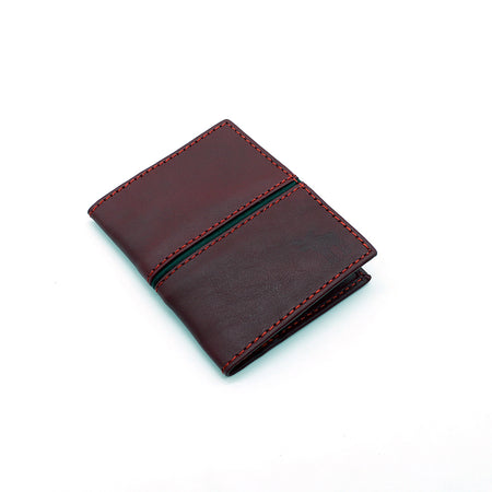 Genuine Full Grain Leather Red Card Holder (DS-872)