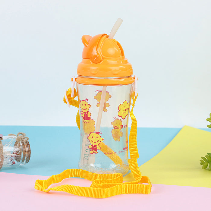 Kids Water Bottle with push open Lid & Straw  (BT-20452)
