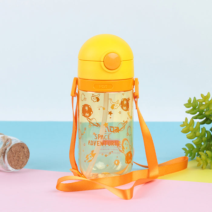 Kids Water Bottle with push open button & Straw (BT-20450)