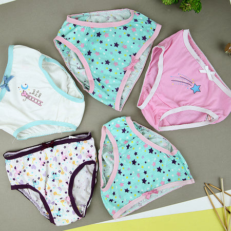 Pack of 5 Assorted Color Little Girls Super Soft Cotton Fancy Briefs (GB-11416)