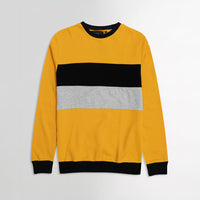 ZR Yellow Colour Block Crew Neck Sweatshirt (ZA-1470)