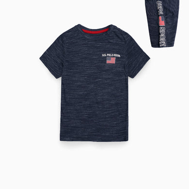 USPA Boys Textured Tee shirt with left chest embroidery (US-2628)
