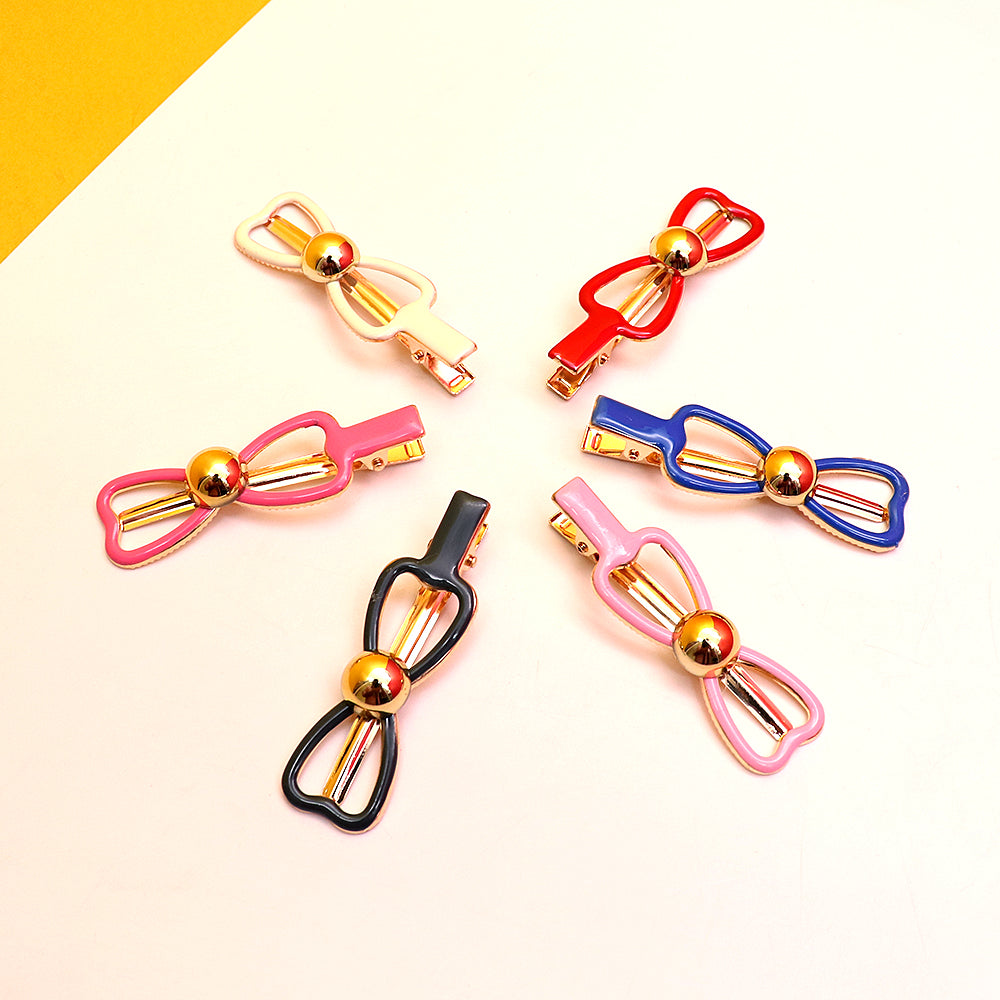 Multi Colored Bow shaped Metal Alligator Hair Clip