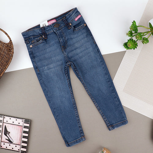 Girls Skinny Leg Blue Wash Stretch Denim Jeans  (ZA-10424)