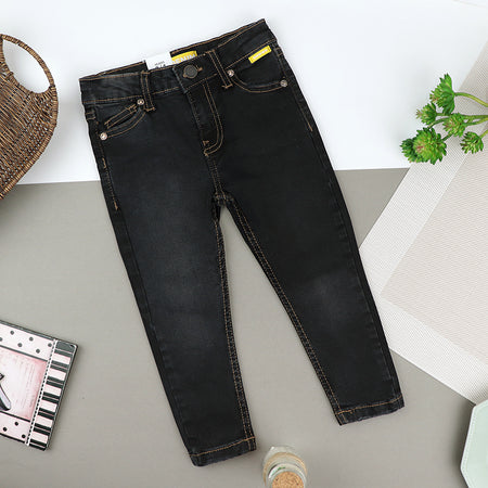 Girls Skinny Leg Charcoal Wash Stretch Denim Jeans (ZA-10418)